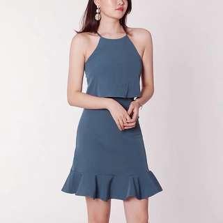 Harper Halter Ruffles Pinafore Dress