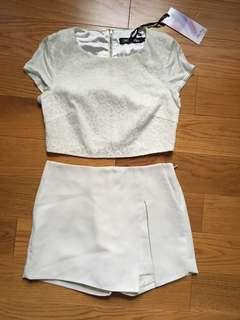White Lace Crop top & Express white skort