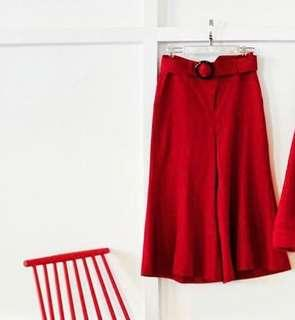 Japanese brand : Oh my god brand red pants christmas outfit bell sleeve pants wool pants liger 紅色闊褲