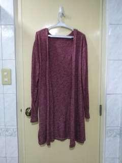 Maroon soft knitted cardigan