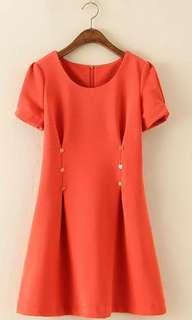 Orange button dress
