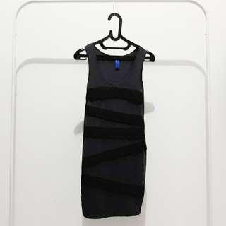 Grey black stripe bodycon dress