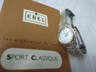 """Ebel Sport Classic Wave Watch """"1911"""" Mother of Pearl Dial with Diamonds in Gold/Steel"""
