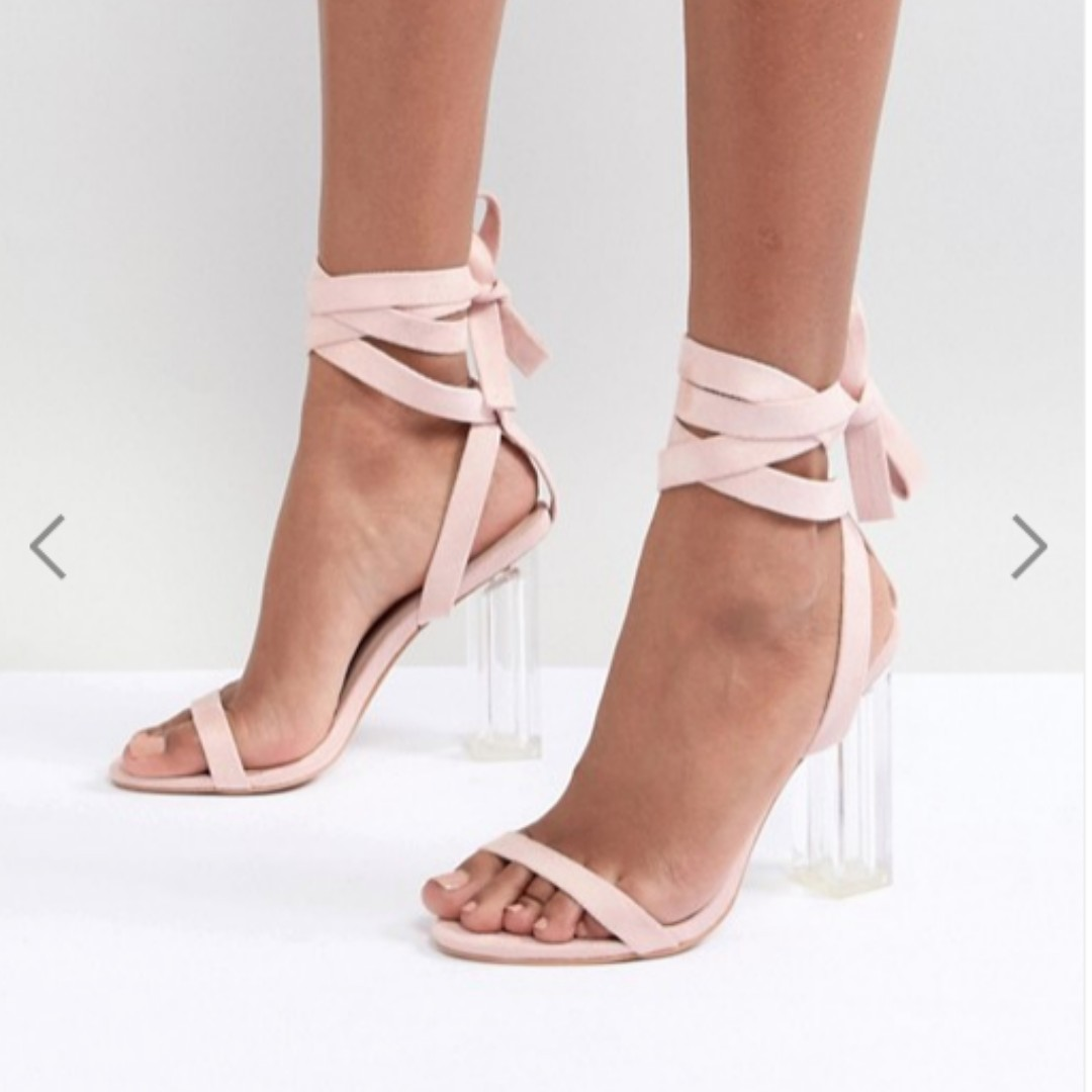 7126a9a7bb70 ASOS PrettyLittleThing Tie Around Clear Heeled Sandals UK SIZE 3 ...