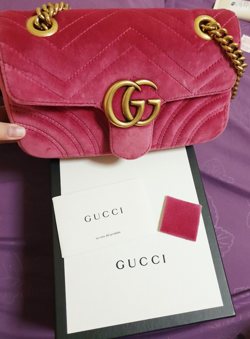 c2ff7aa2a995b Authentic Gucci Marmont Mini in Velvet Pink