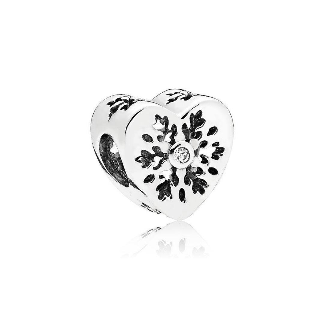 128f079e5 Authentic Pandora Charm Snowflake Heart Charm, Clear CZ Italy ...