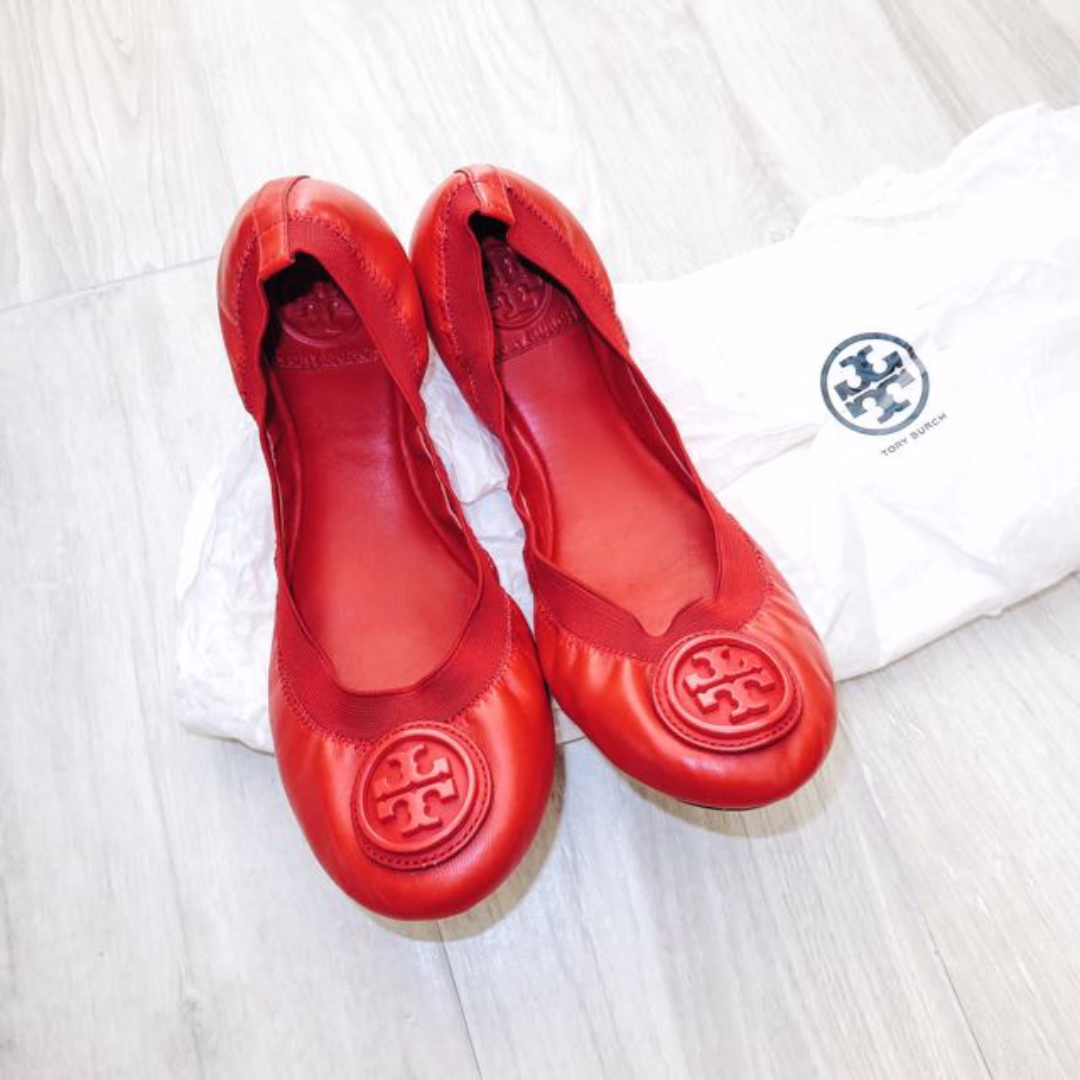 68883c78d AUTHENTIC TORY BURCH Poppy Red Caroline Ballet Flats