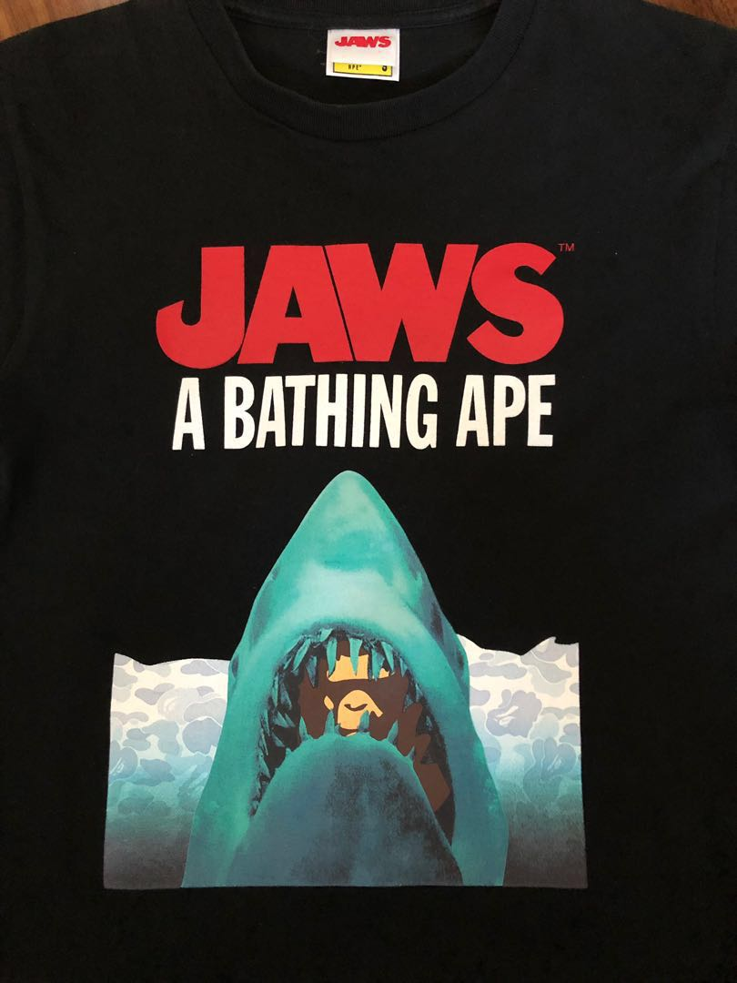 75d7024e Bape x Jaws t shirt, Men's Fashion, Clothes, Tops on Carousell