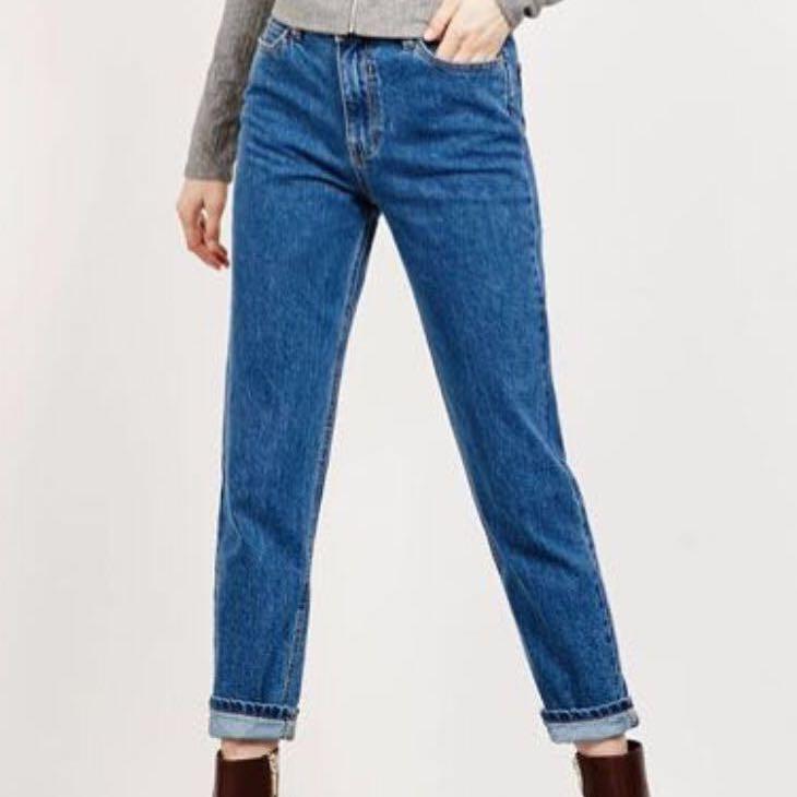 b0a65db4 Bershka Dark Blue Mom Jeans, Women's Fashion, Clothes, Pants, Jeans ...