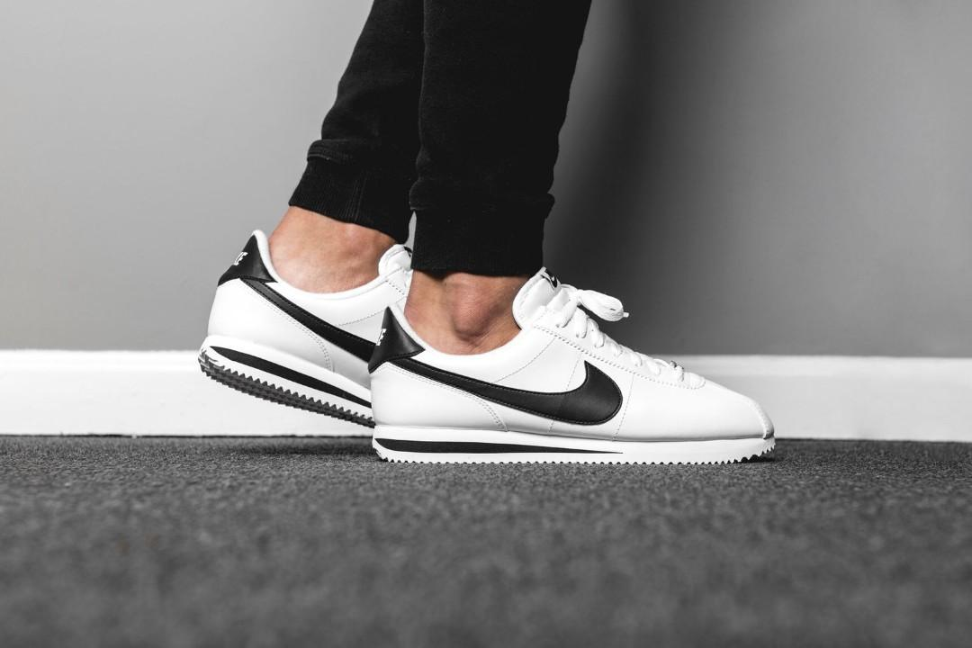 latest design 5849c f1c2e BNIB] Nike Cortez White Black Leather, Men's Fashion ...