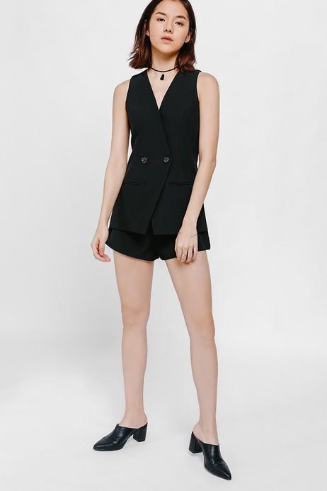 BNWT Love Bonito Tabitha Tuxedo Vest Romper  (black in size m)