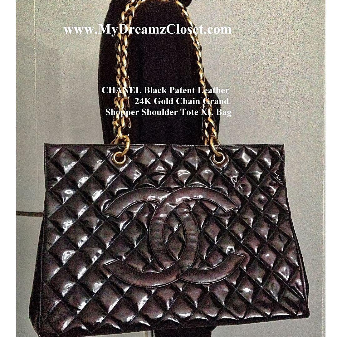 585becbbb509 CHANEL Black Patent Leather 24K Gold Chain Grand Shopper Shoulder ...
