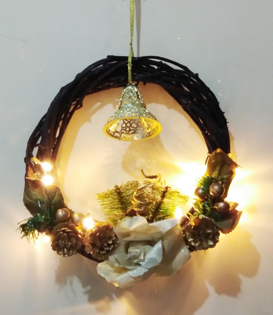 Christmas Wreath Rustic Decor With Christmas Light On Carousell
