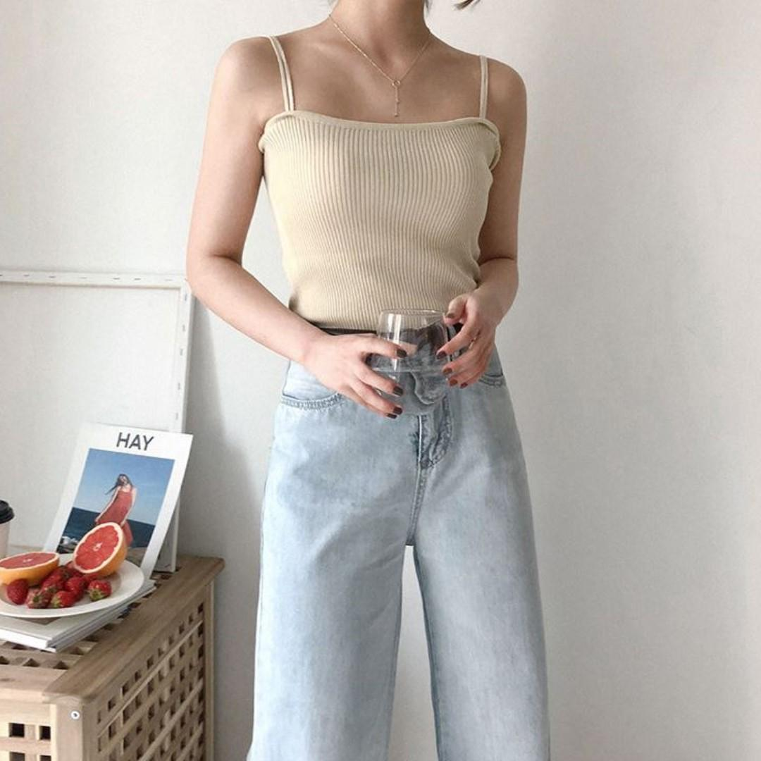 double strap cropped camisole