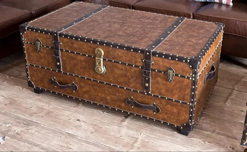11m Faux Leather Loft Trunk Coffee Table Furniture Tables