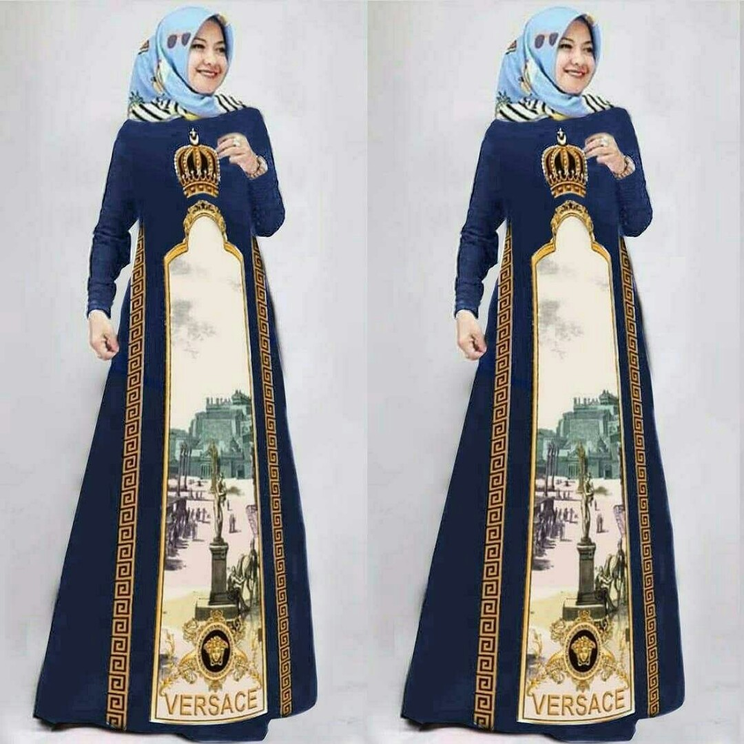 Gamis Versace Navy Women S Fashion Muslim Fashion Dresses On