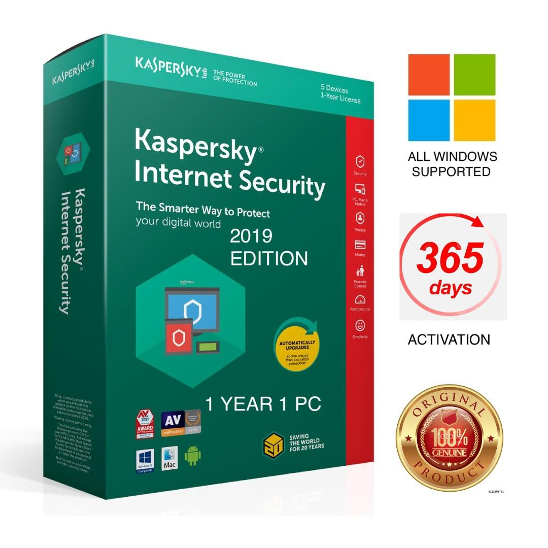 Genuine Kaspersky Internet Security 2019 1 Year 365 Days