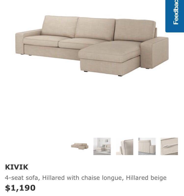 Ikea Kivik 4 Seat L Shape Sofa, L Shape Sofas Ikea
