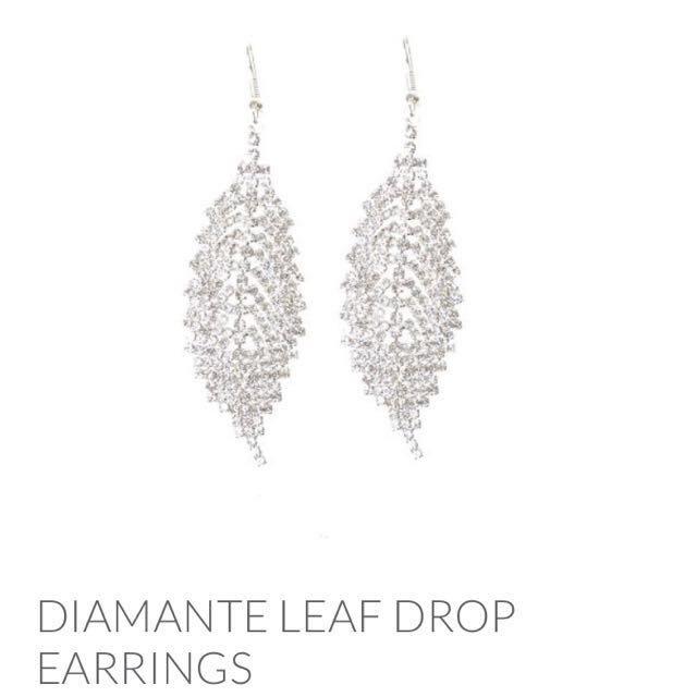 Lovisa Diamond Leaf Drop Earring Women S Fashion Jewellery On Carou
