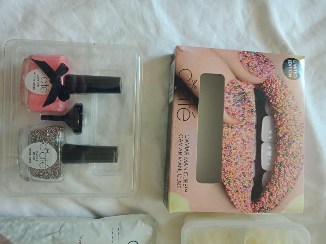 OPI, CDN  and generic brandsof polish, false nail tips, nail caviar and more.