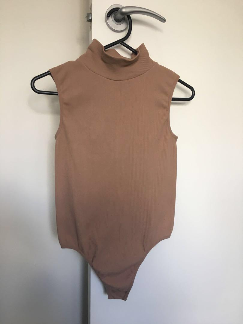 Pink/Nude Turtleneck Bodysuit