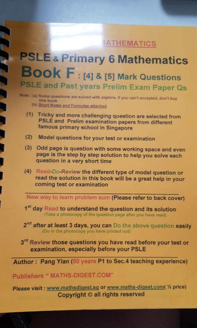 PSLE and p6 math book F 4/5 Mark questions by Mr Pang Yian