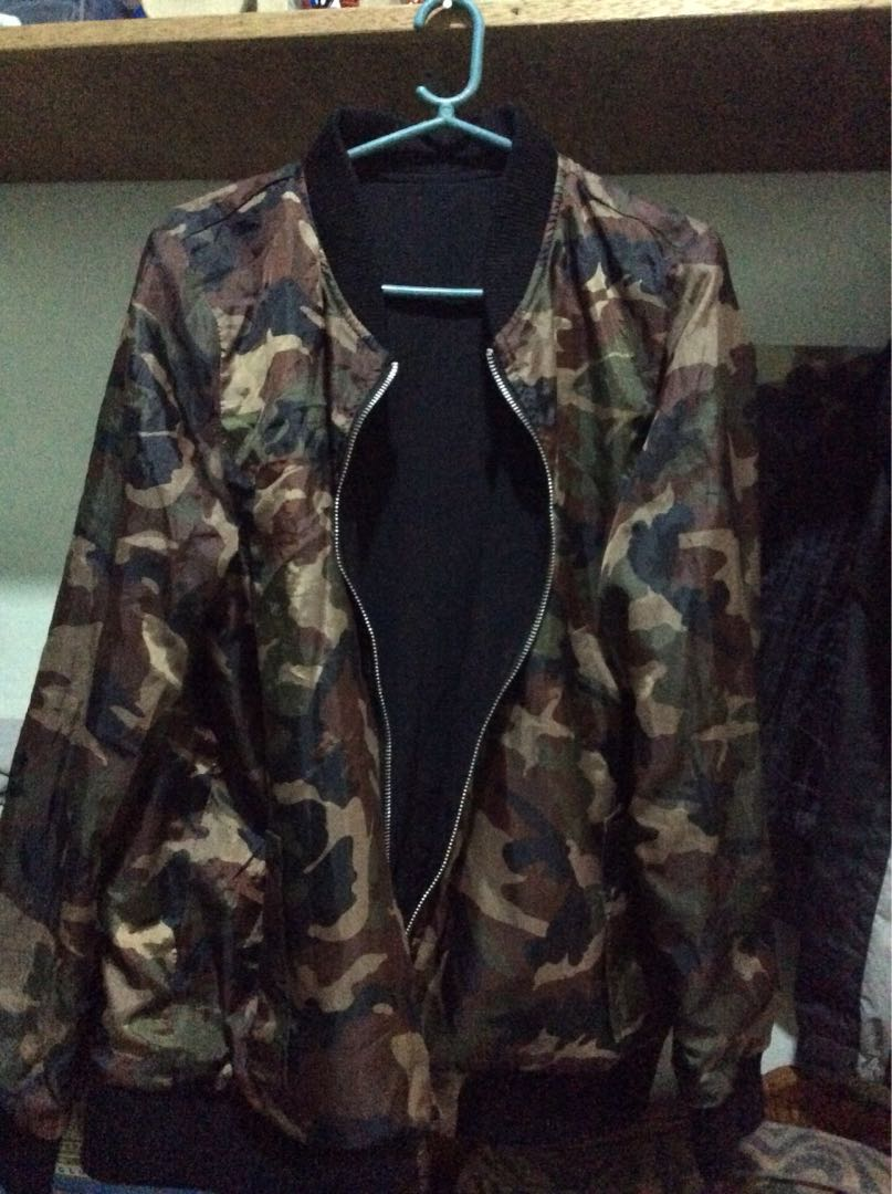 69e56b7b57e3 Red Nike Jacket and Camo Black Jacket