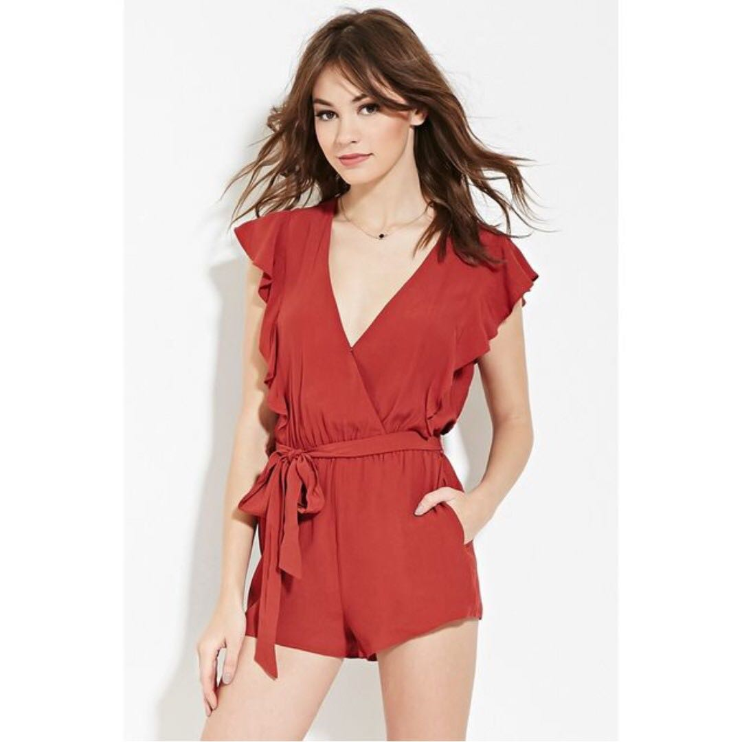 1c835958be43 SALE  🆕 FOREVER 21 Surplice Front Romper (Rust) 💗 Preloved ...