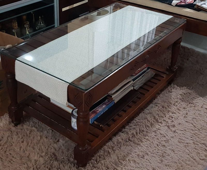 Solid Teakwood Coffee Table With Glass Top Furniture Tables