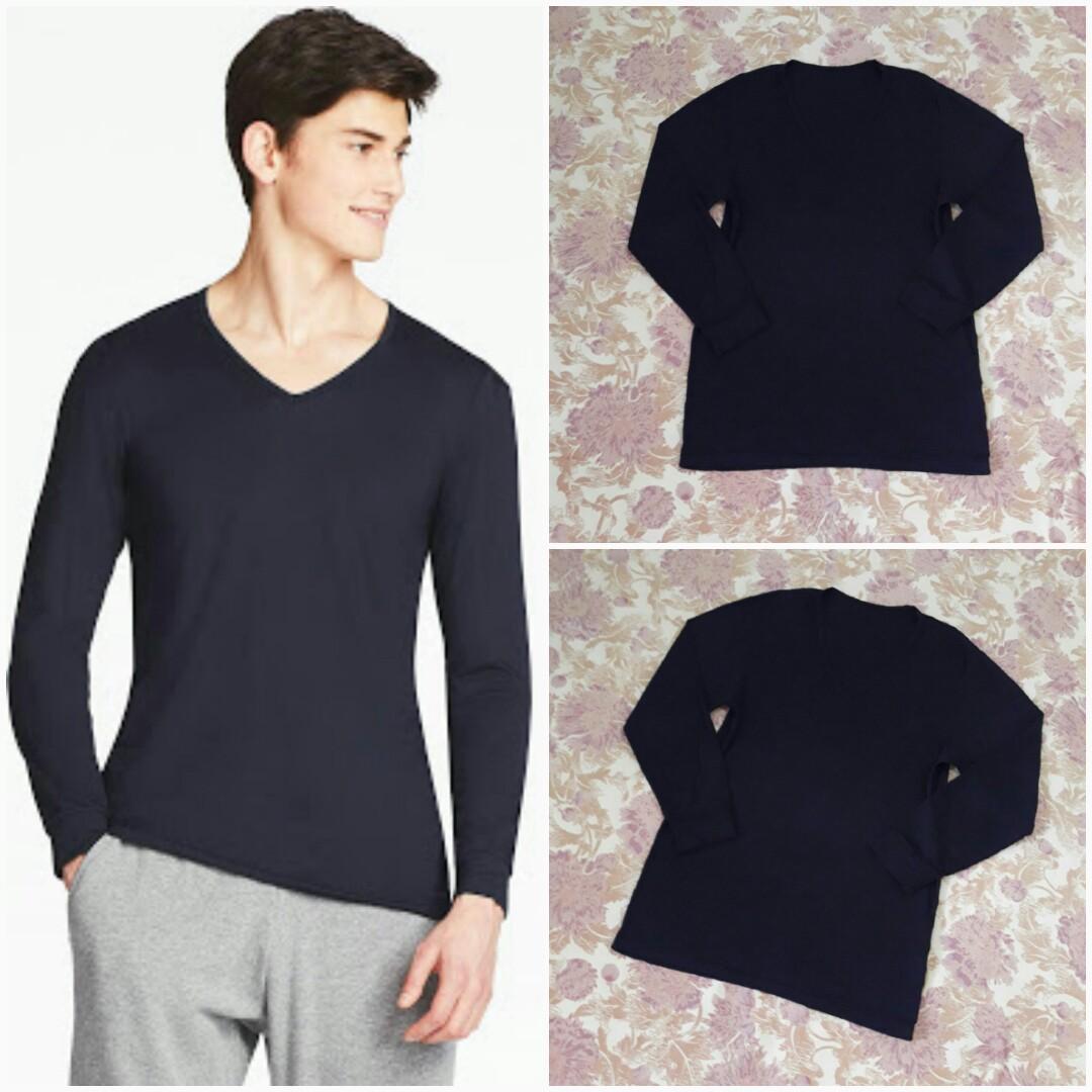 22a1865a8 UNIQLO Men Heattech Vneck Long Sleeve (Black M), Men's Fashion ...