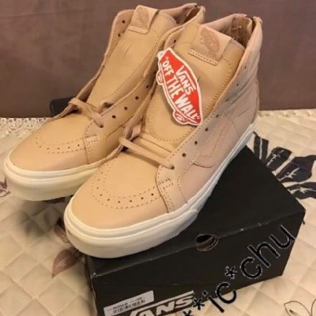 138871170b 全新vans veggie tan leather sk8-hi zip DX 原色皮革US 9.5 crossbone ...