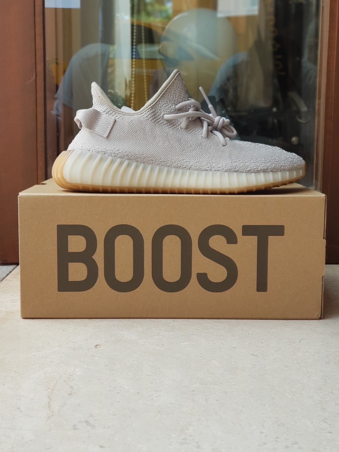 online retailer bf951 342aa Yeezy 350 V2 Sesame, Mens Fashion, Footwear, Sneakers on Car