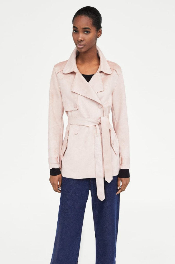 6e835d69 Zara Short Faux Suede Trench Coat (Pink), Women's Fashion, Clothes ...