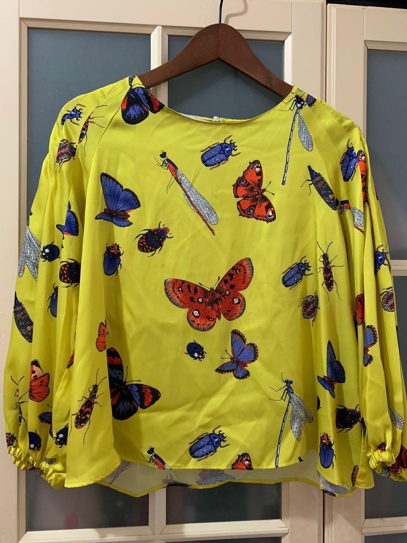 Zara昆蟲圖案七分袖襯衫M號