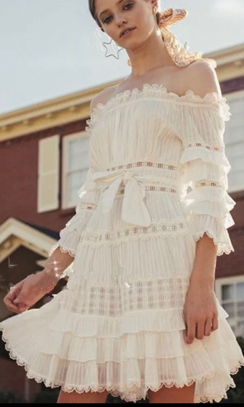 43b1d902241 Zimmerman inspired off shoulder white 3 4 sleeves multi frills tier summer  dress