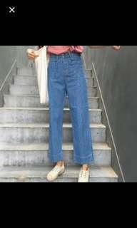🚚 牛仔寬褲 長褲M號