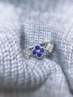 18K 藍寶石鑽石戒指