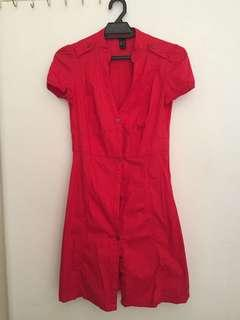 MNG Red Dress with Buttons