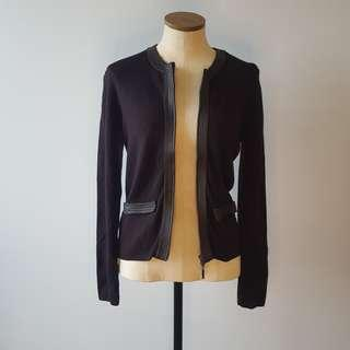 Vintage Cardigan with Faux Leather Trim