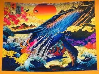 浮世繪壁掛布 鯨魚