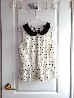 Spotted Peplum Blouse