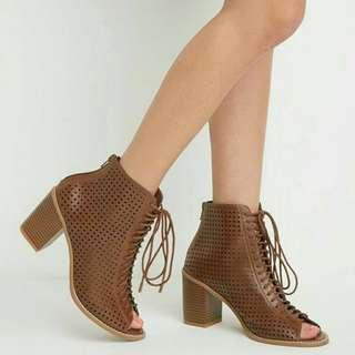 Brown Chestnut Lace up peep Toe Booties