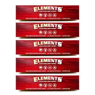 5包x33 Elements Red King Size Slim Hemp Rolling Papers / 110mm (長)手捲煙紙