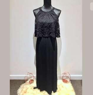 Chico's sz 0 (S/M) black maxi women dress lace elastic wedding party casual cute