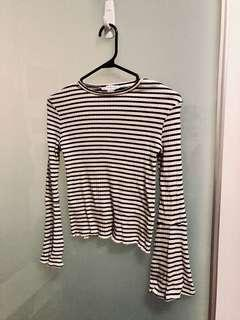 Bell Sleeved B&W Striped Long Sleeve