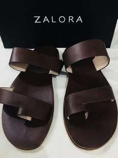 Faux Leather Toe Loop Slide Sandals