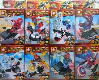 DLP9082 New SPIDER-MAN 8in1 Minifigures w/ FREE VENOM Buildable