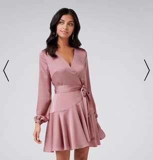 Forever New Peach Long Sleeve Wrap Dress