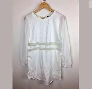NWT Passion Fusion sz M white women dress mesh club party loose fit basic long sleeve