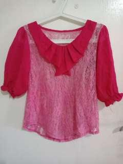 Blouse brokat pink